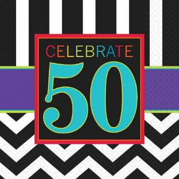 50th Celebration Beverage Napkin 16pc
