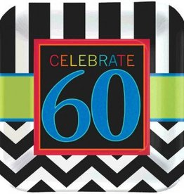 "60th Celebration 7"" Plate 8pc"