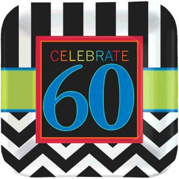 "60th Celebration 9"" Plate 8pc"