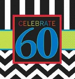 60th Celebration Beverage Napkin 16pc