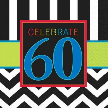 60th Celebration Beverage Napkin 16pc