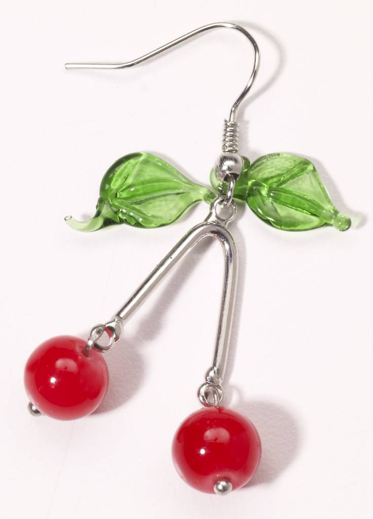 50s Retro Rock Cherry Earrings
