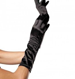Elbow Length Satin Gloves Black