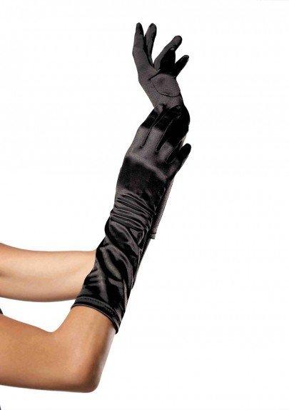 Black Elbow Length Satin Gloves