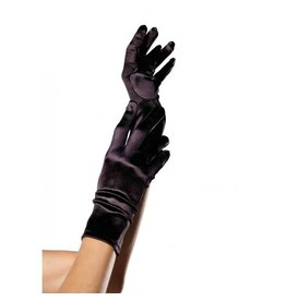 Black Satin Wrist Length Gloves