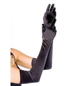 Extra Long Satin Gloves Black
