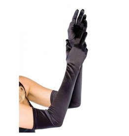 Black Extra Long Satin Gloves