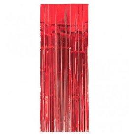 Metallic Door Curtain Apple Red