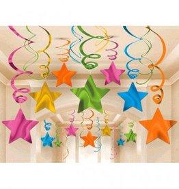 Metallic Swirl Star Decorations Multi Colour