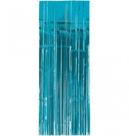 Metallic Door Curtain Caribbean Blue