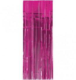 Metallic Door Curtain Bright Pink