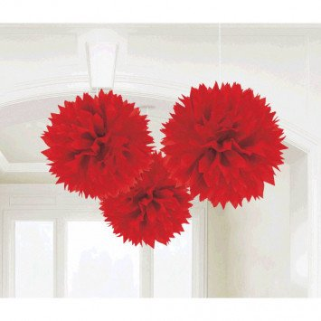 Apple Red Fluffy Decorations 3ct