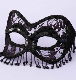 Black With Lace Beads Mask