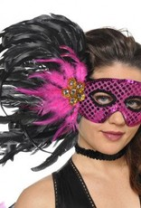 Fuchsia Black Feather Mask