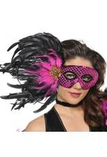 Fuchsia Black Feather Mask