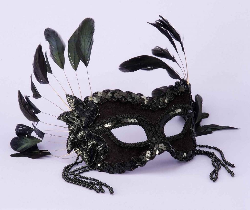 Black With Beads/Feathers Mask