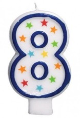 #8 Birthday Star Flat Molded Candle