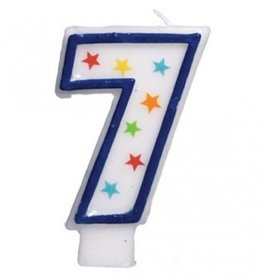 Amscan #7 Birthday Star Flat Molded Candle