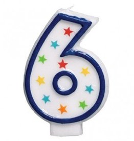Amscan #6 Birthday Star Flat Molded Candle