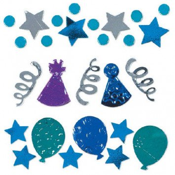 Birthday Celebration Blue Confetti