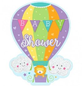 Baby Shower Hot Air Balloon, Jumbo Deluxe Invites - Neutral (8)