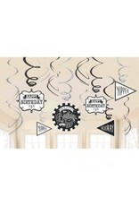 Chalkboard Birthday Value Pack Foil Swirl Decorations (12)