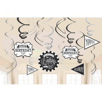 Chalkboard Birthday Value Pack Foil Swirl Decorations (12)
