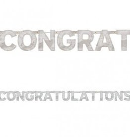 Banner Letter Large Congratulations Silver