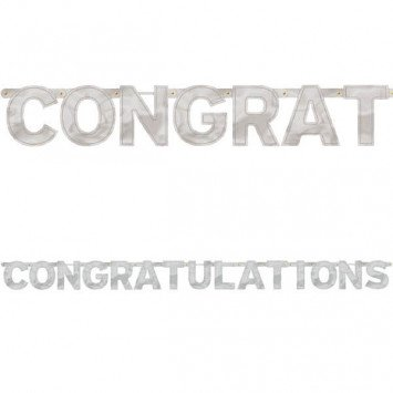 Congratulations Silver Jumbo Letter Banner