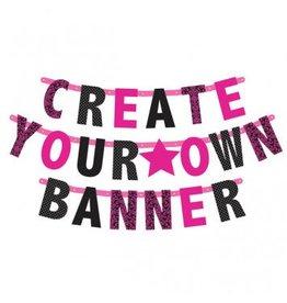 Letter Banner Customizable Pink/Black