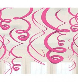 Bright Pink Plastic Swirl Decorations 12ct