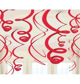 Apple Red Plastic Swirl Decorations (12)