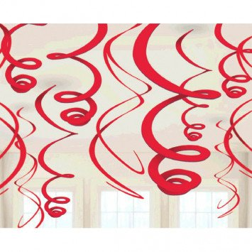 Apple Red Plastic Swirl Decorations (12)