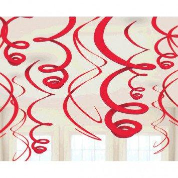 Apple Red Plastic Swirl Decorations 12ct