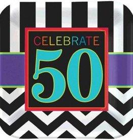 "50th Celebration Square Plates 9"" 8pc"