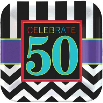 "50th Celebration Square Plates 9"" 8pc"