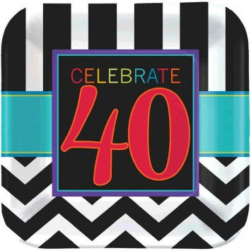 "40th Celebration Square Plates, 9"" 8pc"