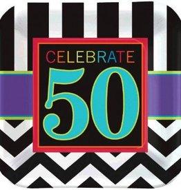 "50th Celebration 7"" Square Plate 8pc"