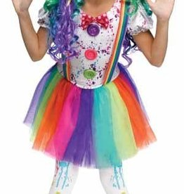Child Costume Crazy Colour Clown Large (12-14)