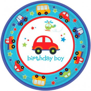 "All Aboard Birthday 7"" Plate (18)"