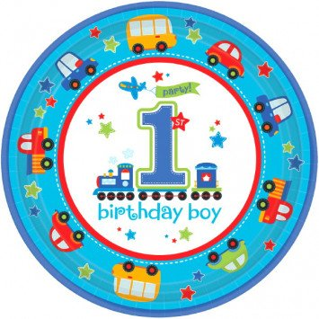 "All Aboard Boy Round Plates 10"" 18pcs"