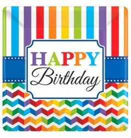 "Bright Birthday 10"" Square Plates (8)"
