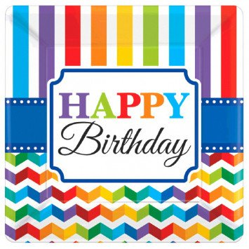 "Bright Birthday 7"" Square Plates (8)"