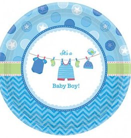 "Shower w/Love Boy Round Plates 10"" 8pc"