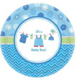 """Shower with Love Boy Round Plates 10"""" (8)"""