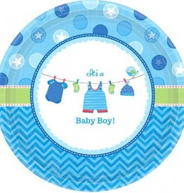 "Shower w/Love Boy Round Plates 7"" 8pc"