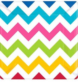 "Bright Chevron 7"" Square Plates (18)"