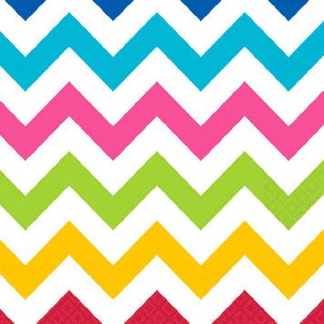 Bright Chevron Beverage Napkins 36pcs