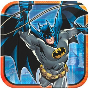 "Batman 9"" Square Plates 8pc"
