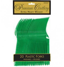 Festive Green Premium Forks 20ct
